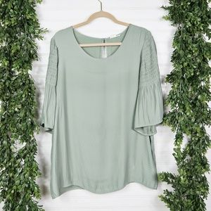 Pleione Shirred Sage Bell Sleeves Blouse Top - XL